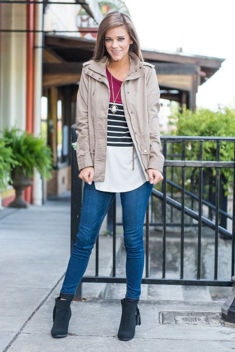 """""""Fight For Love Jacket, Khaki""""Even if you're bummed about the end of summer and the beginning of brisk weather, don't fight the temperatures, embrace them! #newarrivals #shopthemint"""