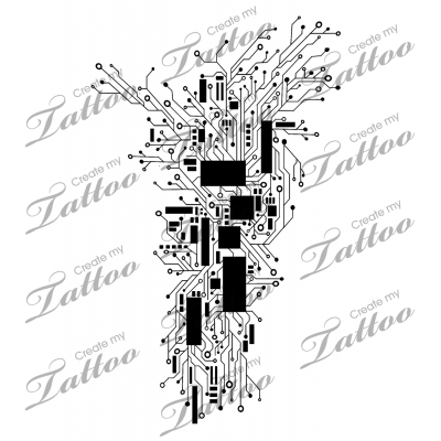 Marketplace Tattoo Abstract Circuitry Computer/Cyber