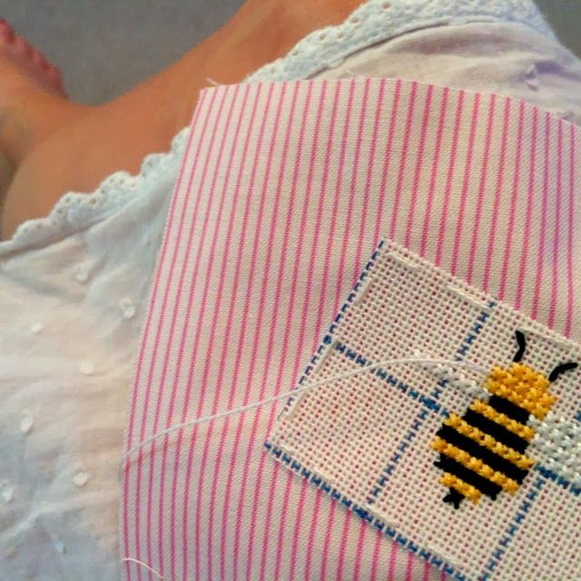 Bee cross stitch using waste canvas- nailed it!