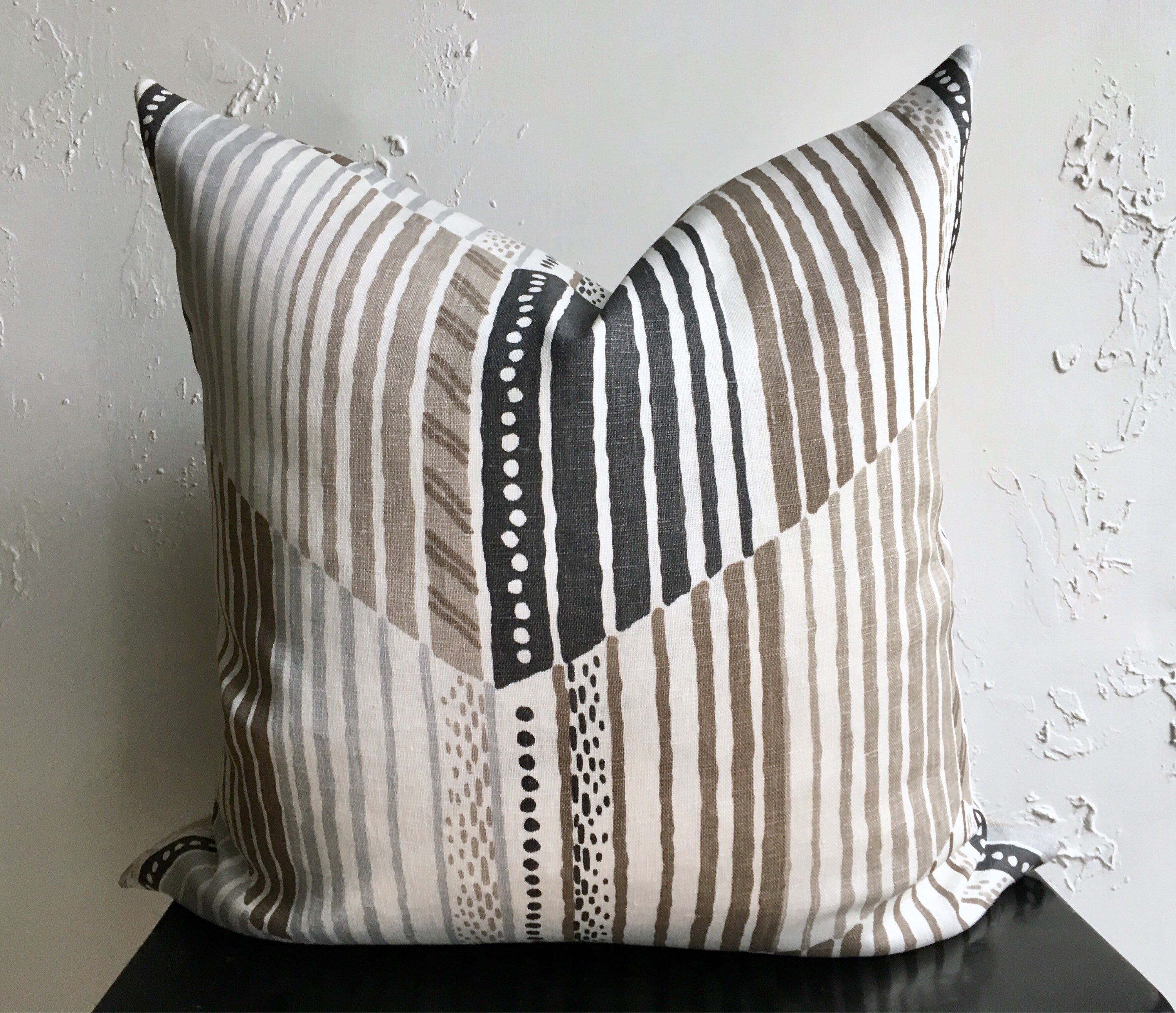 Abstract Chevron Linen Pillow Cover Luxurious Taupe Throw
