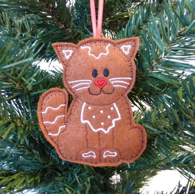 Gingerbread Cat Christmas Decoration Felt 3 25
