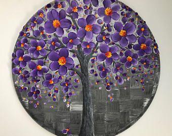 Art ORIGINAL, empâtement métallisé argent Cherry Blossom arbre peinture, toile ovale Wall Decor, peinture