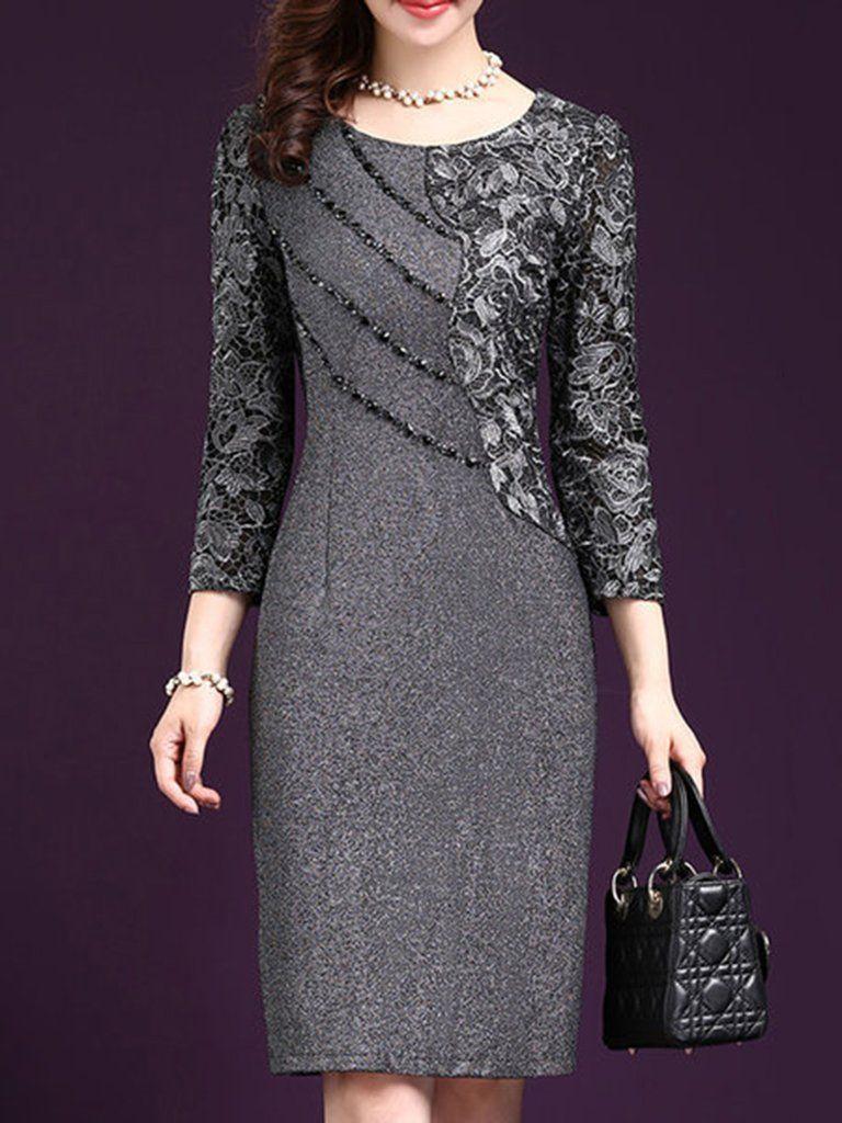 Round neck plain blend bodycon dress in dresses pinterest