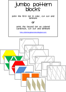 Jumbo Pattern Blocks And A Freebie Math Patterns Pattern