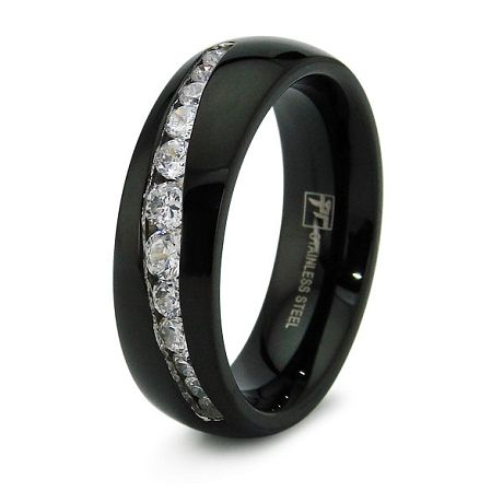 Black Stainless Steel Wedding Band With 12 Cz S Stainless Steel Wedding Bands Black Wedding Rings Wedding Ring Bands
