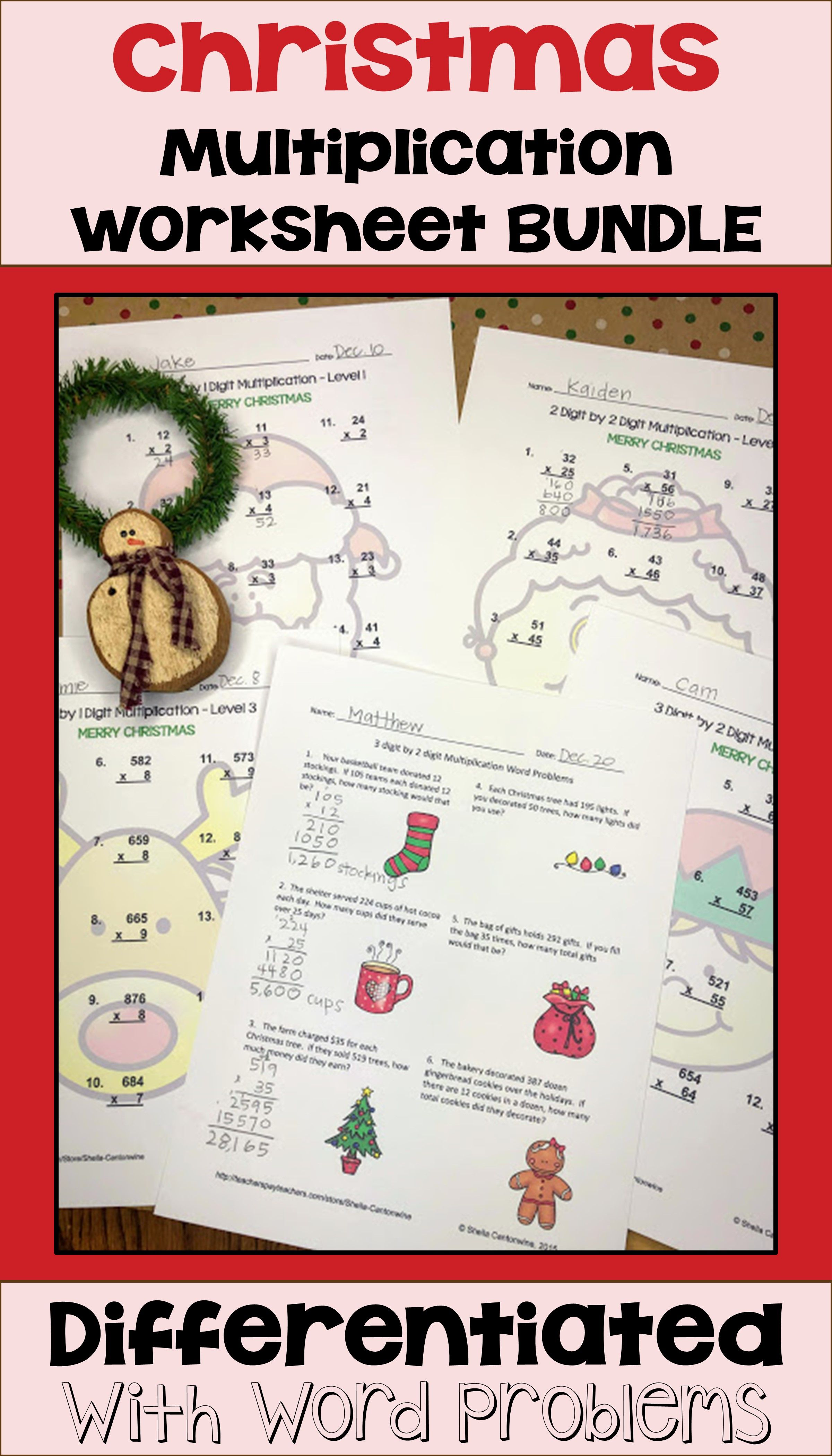 Christmas Multiplication Worksheet Bundle Differentiated