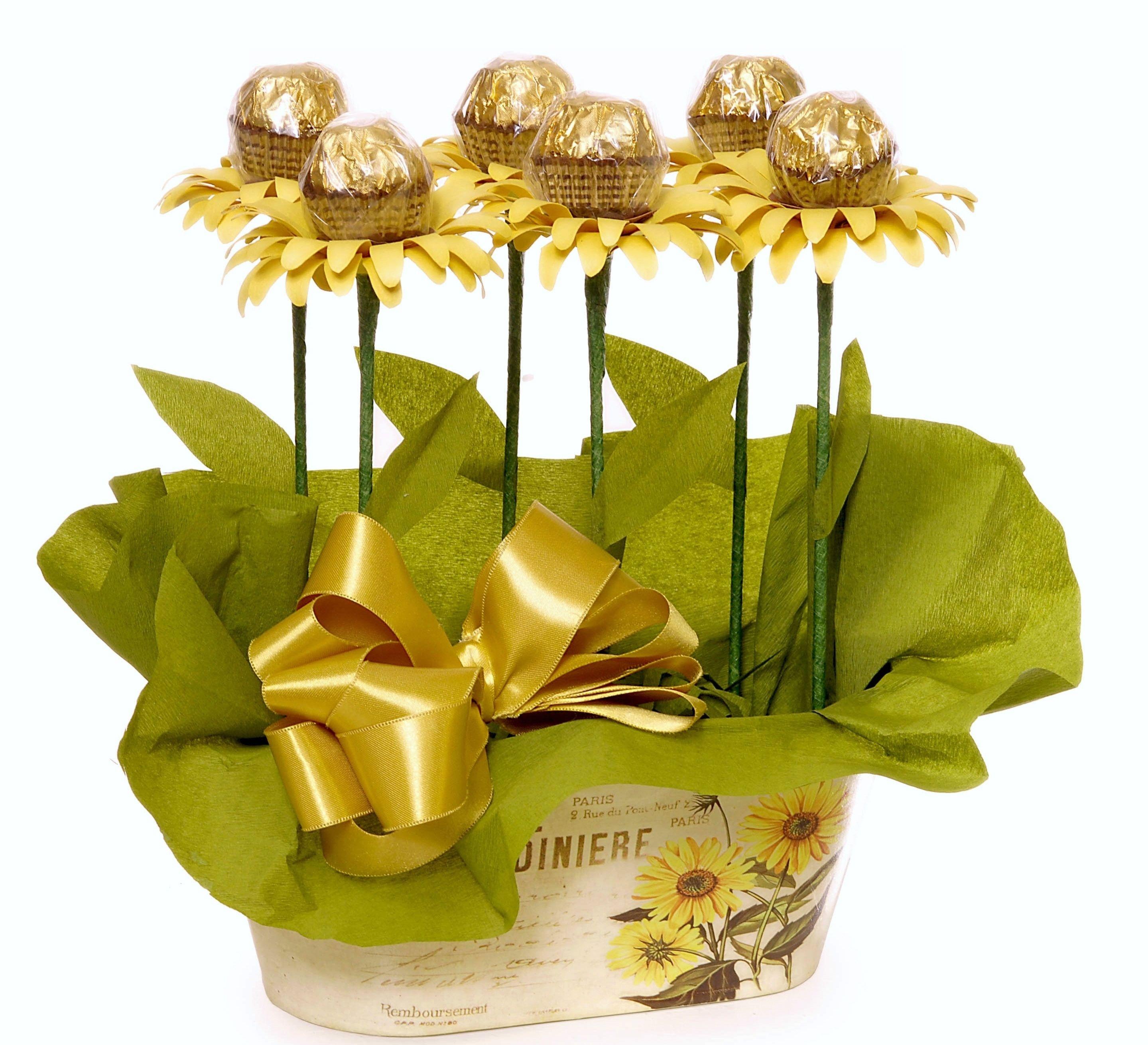 Ferrero rocher sunflowers Diy Geschenke Muttertag