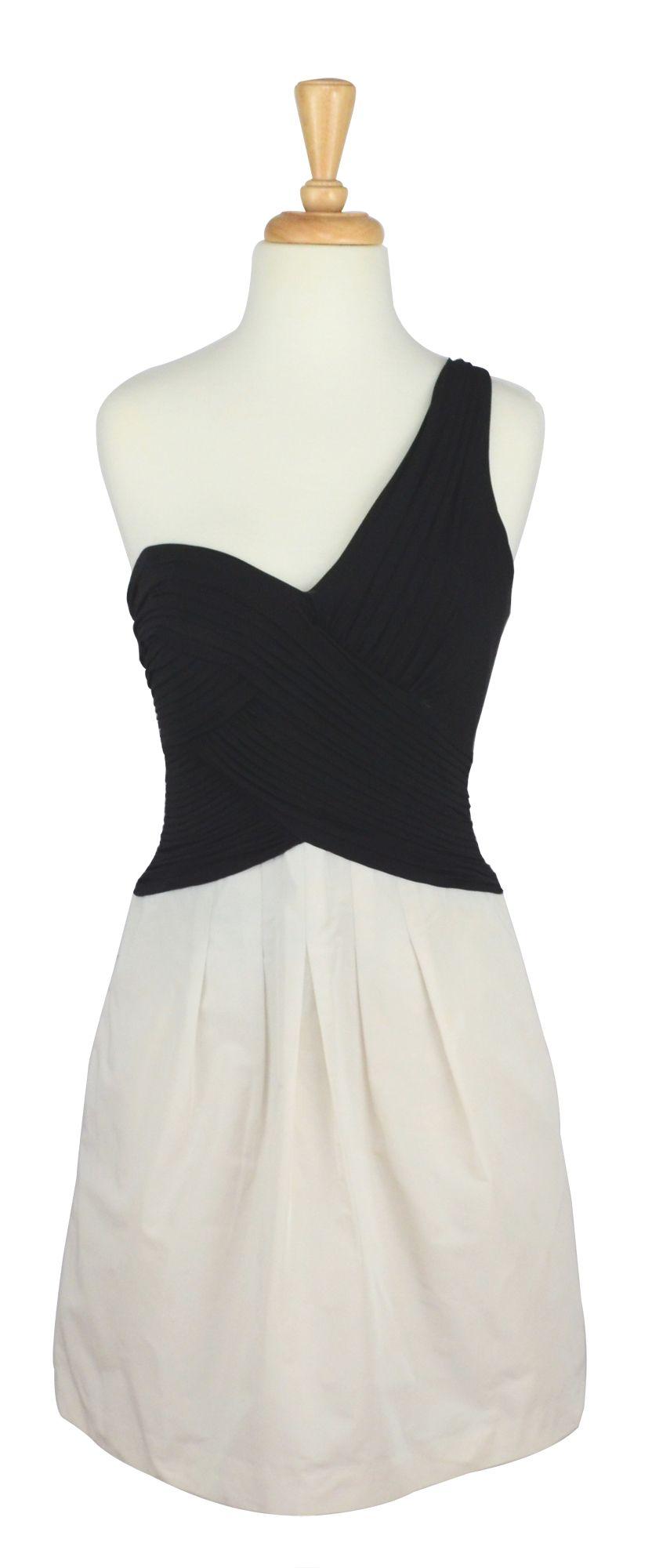 Bcbg max azria black u white asymmetrical dress short vintage prom