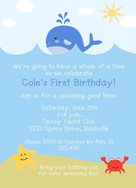 Sea Or Beach Themed Birthday Party Invite