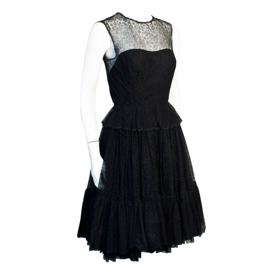 a15e8e4f760 1960s Holt Renfrew Black Lace Dress
