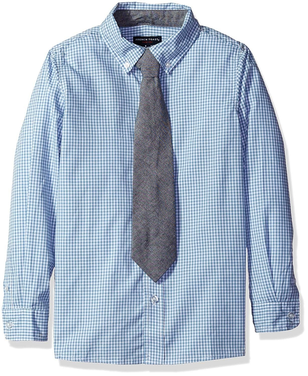 French Toast Boys Little Long Sleeve Dress Shirt with Tie White 7