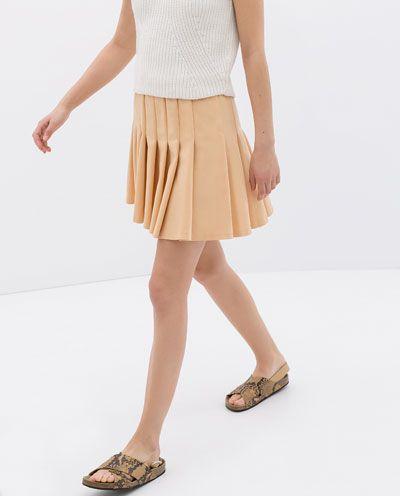 9f26fe8b07 BOX PLEAT SKIRT WITH ELASTIC WAISTBAND   Zara // Skirts   Box pleat ...