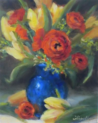 """Daily Paintworks - """"Tulips and Ranunculus- Oil"""" - Original Fine Art for Sale - © Pat Fiorello"""