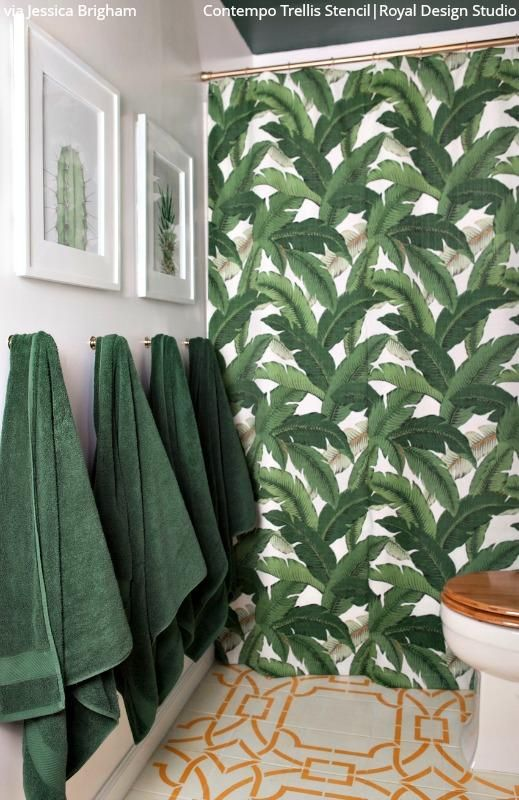 Contempo Trellis Wall Stencil Tropical Bathroom Decor
