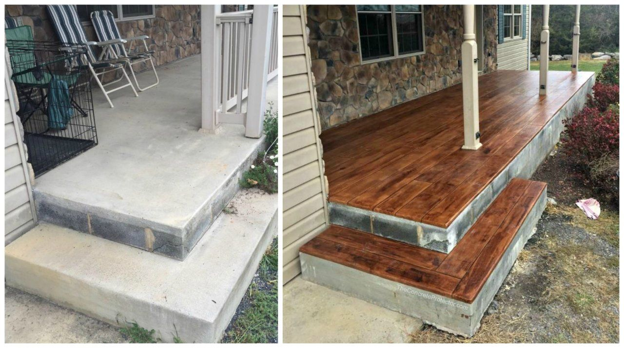 Beautiful Concrete Wood Transformation On A Porch