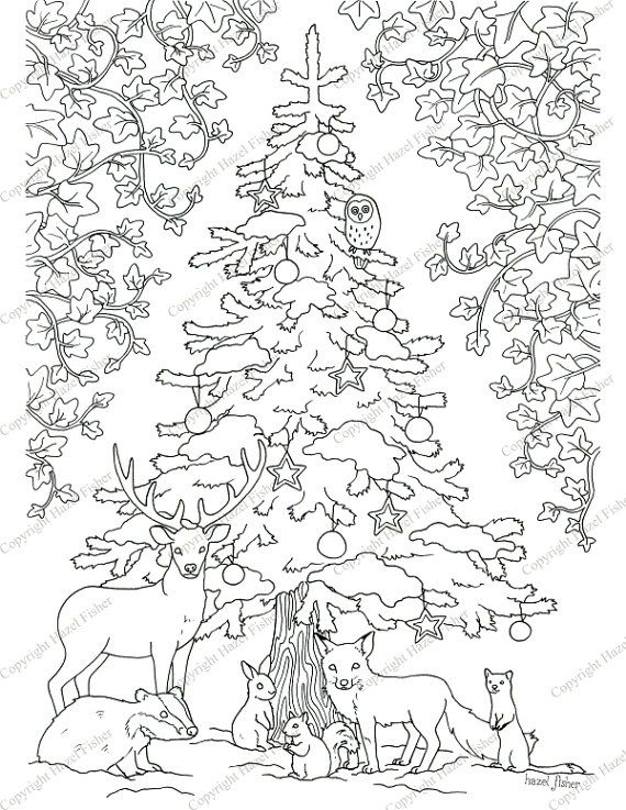 Printable Colour In Christmas Picture Winter Woodland