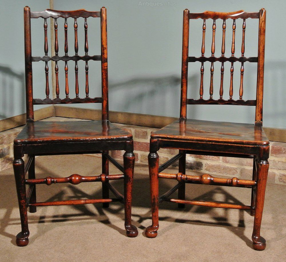 Pair Of 18th Century Elm Spindle Back Chairs Antiques Atlas