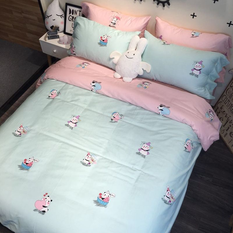 soft 3/4pcs duvet cover set,duvet cover bedspread pillowcase,blue&pink bedding set 100% cotton,queen twin double size bed linens