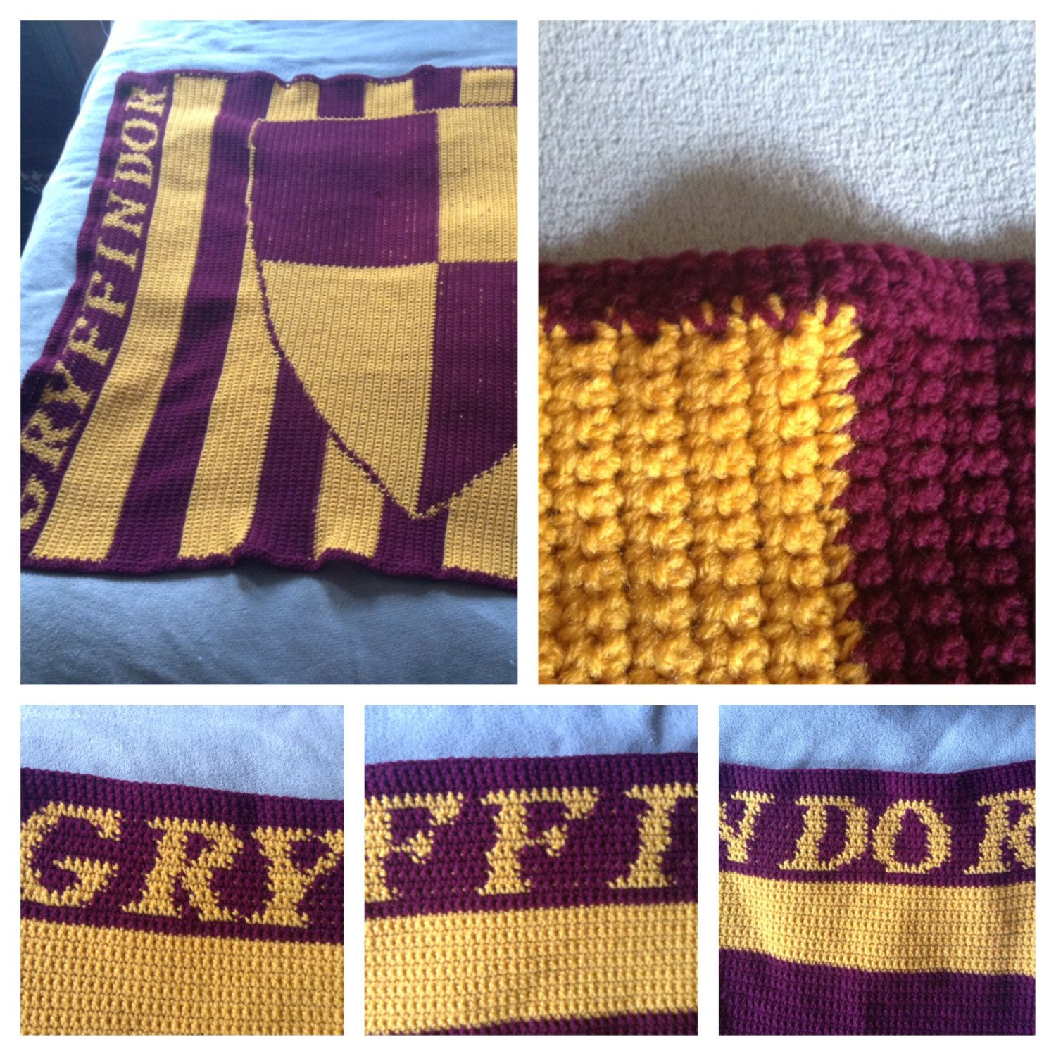 harry potter inspired gryffindor crochet blanket. Black Bedroom Furniture Sets. Home Design Ideas