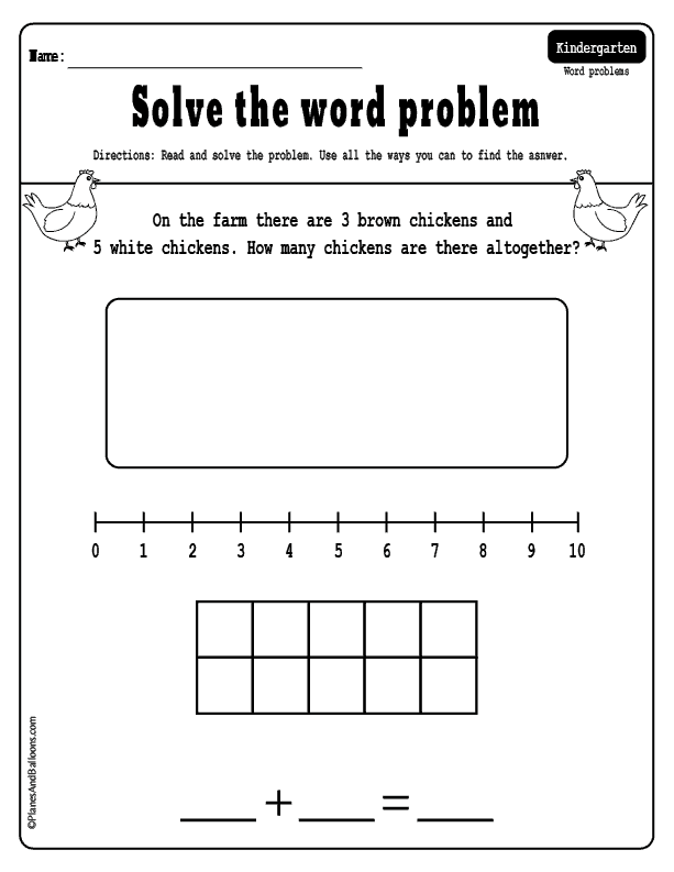 Kindergarten math word problems: addition and subtraction to 10 ...