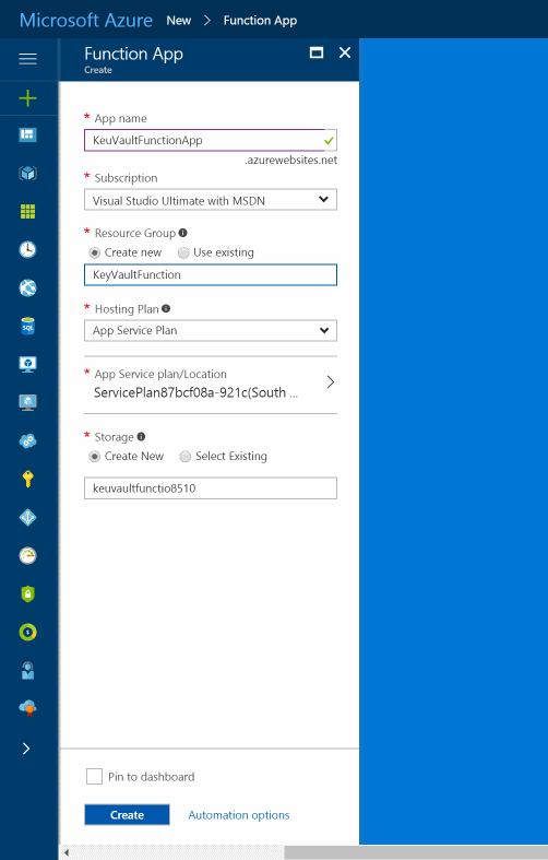 Azure Key Vault From Azure Functions Certificate Based