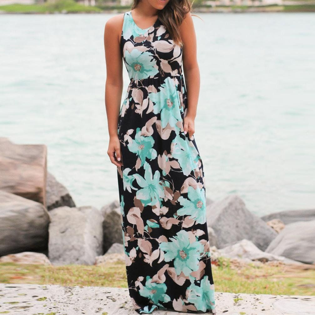 dc1668442ae Maternity Fashion - Willsa Women High Waist Casual Sleeveless Floral Print Long  Beach Dress L    Click image to review even more details.