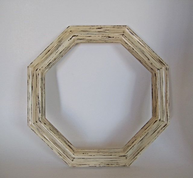 Large Round Picture Frame Octagon Antique White 11x14   Round ...