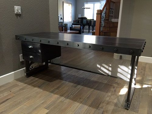 Long Island Table   Industrial Office Furniture     Modern Industrial  Commercial Furniture     Rustic