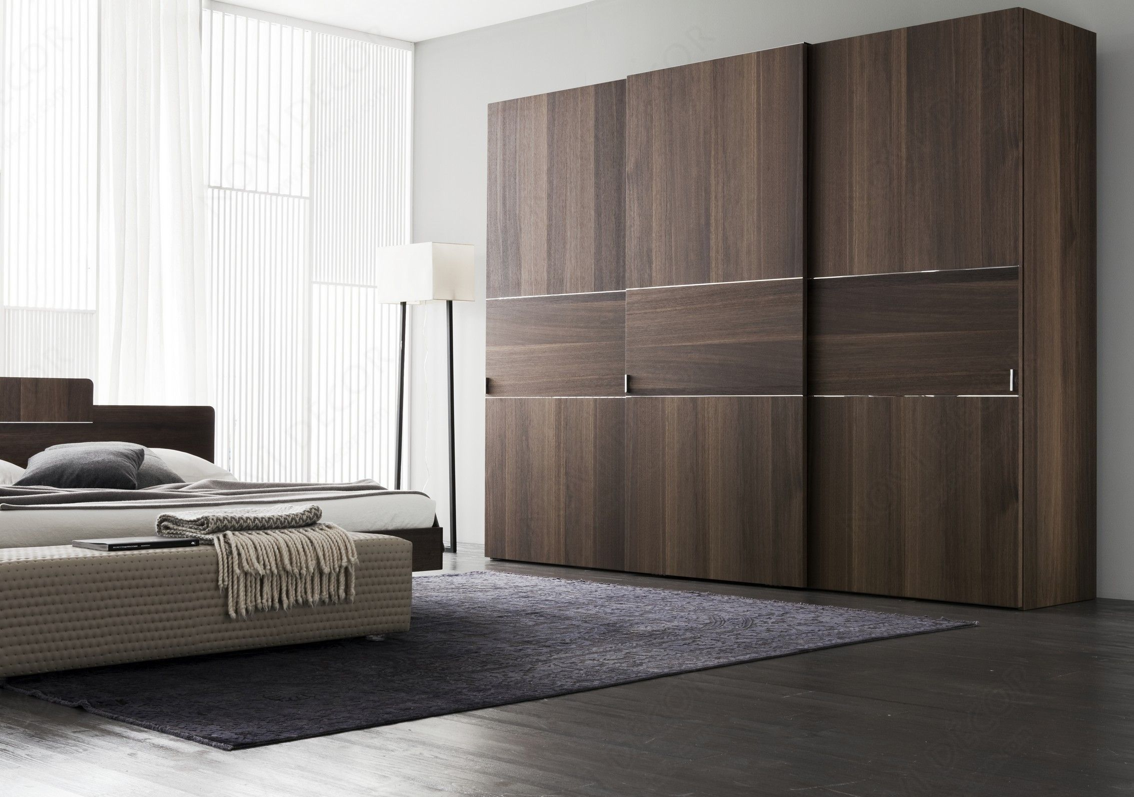 Sliding wardrobe doors as nice color combination furniture for Three room set design