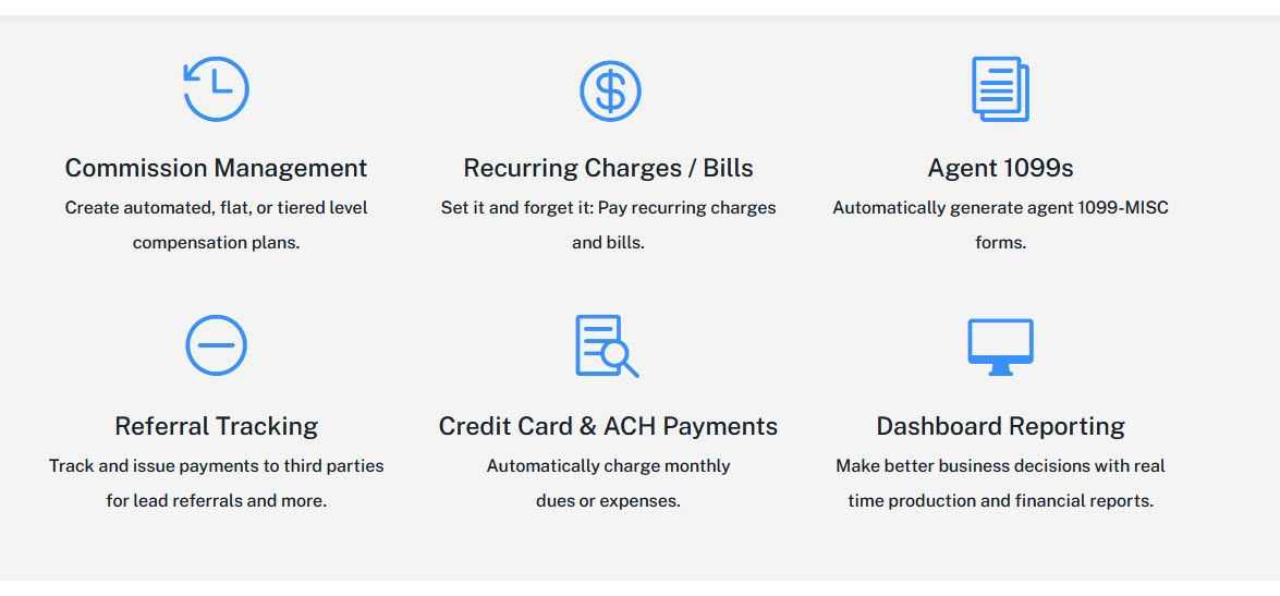 Dashboard reporting, credit card ACH payments, referral