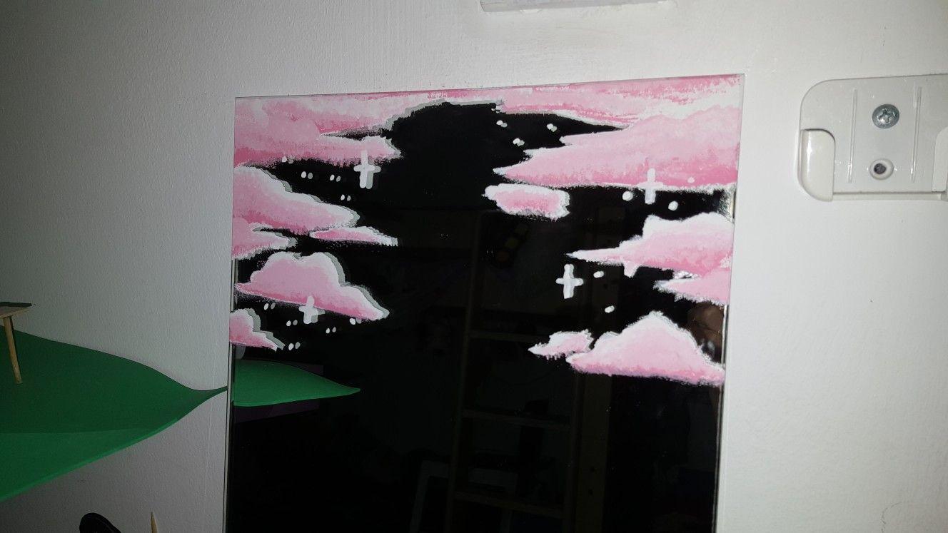 Mirror Painting Tiktok Aesthetic Pink Clouds Cute Mirror Painting Painted Mirror Art Cloud Painting