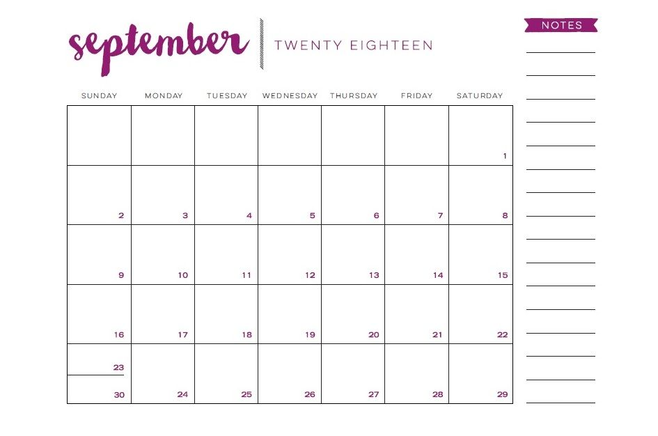 free printable september 2018 desk calendar