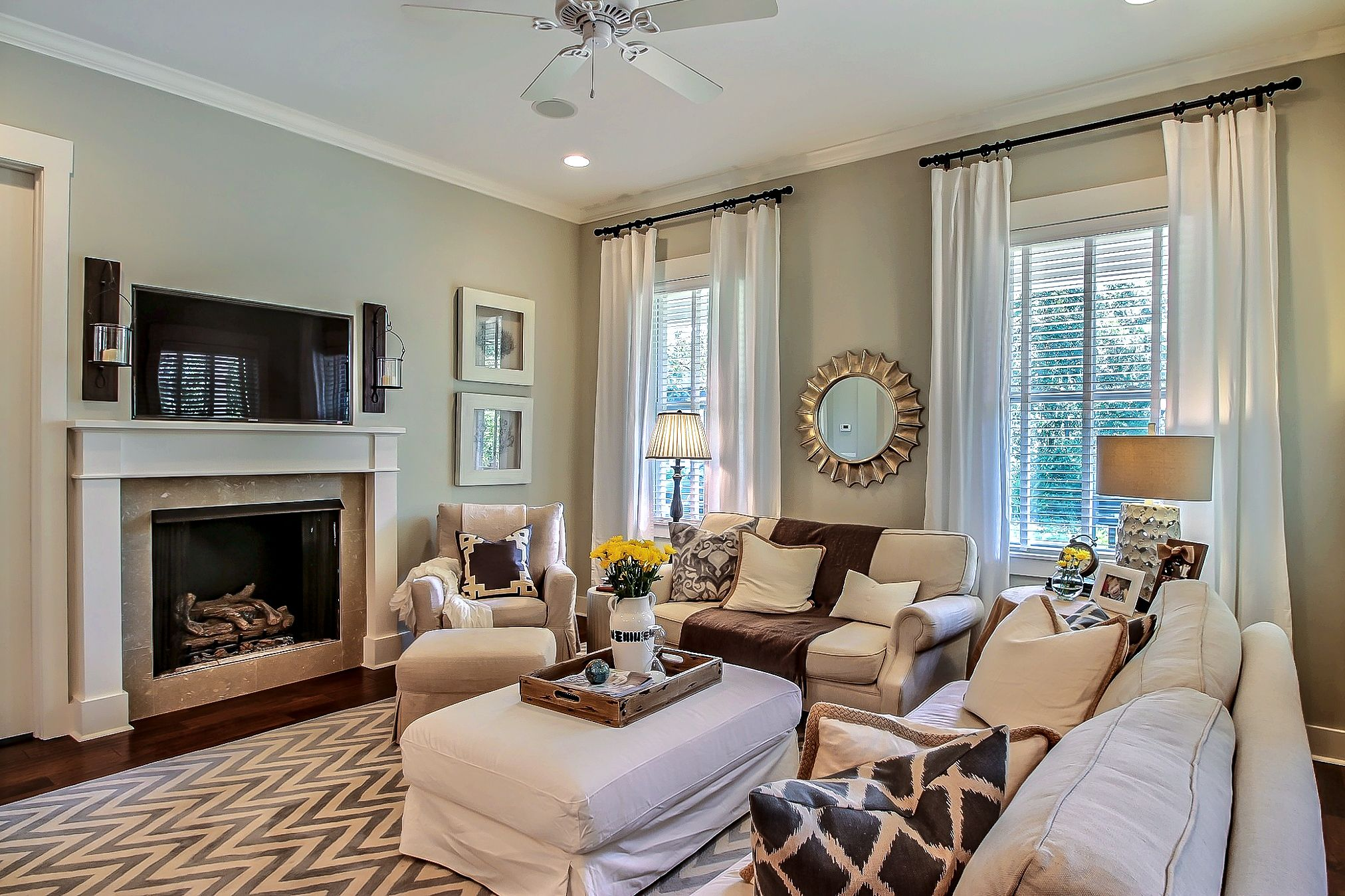 Neutral Living Room Chevron Rug Re Design Interior Design