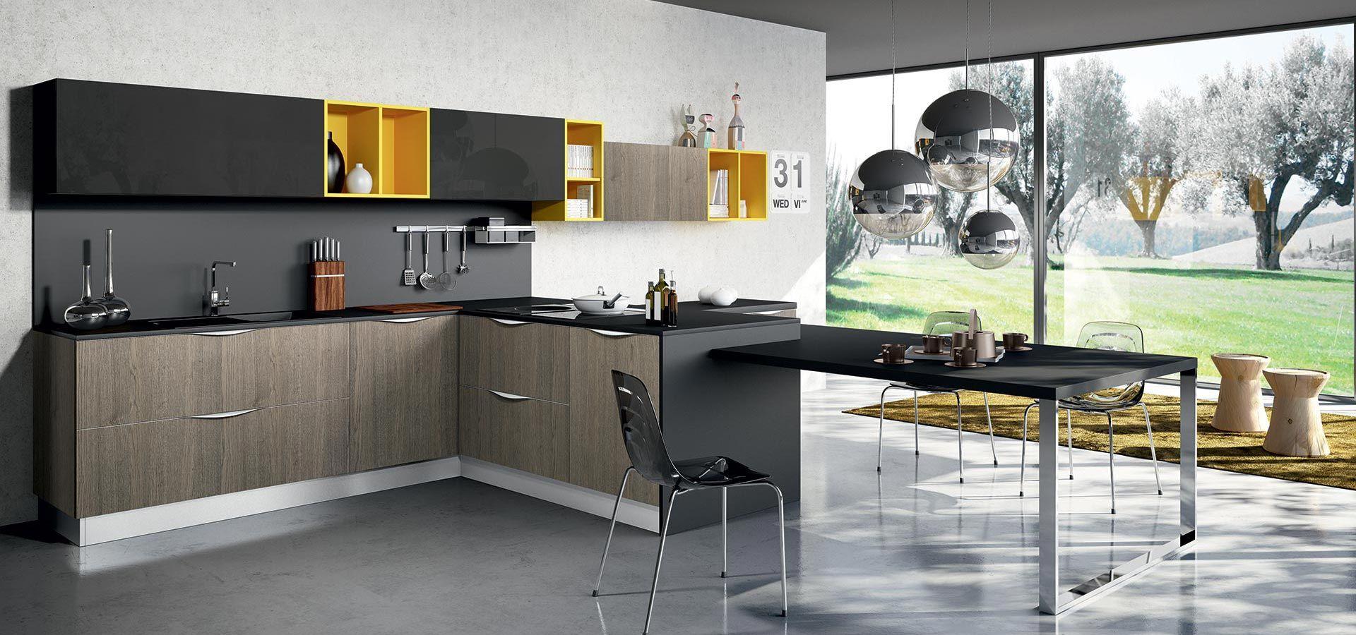 Cucina Moderna - MOON DUNA DIVA Finitura rovere nodino cenere e ...