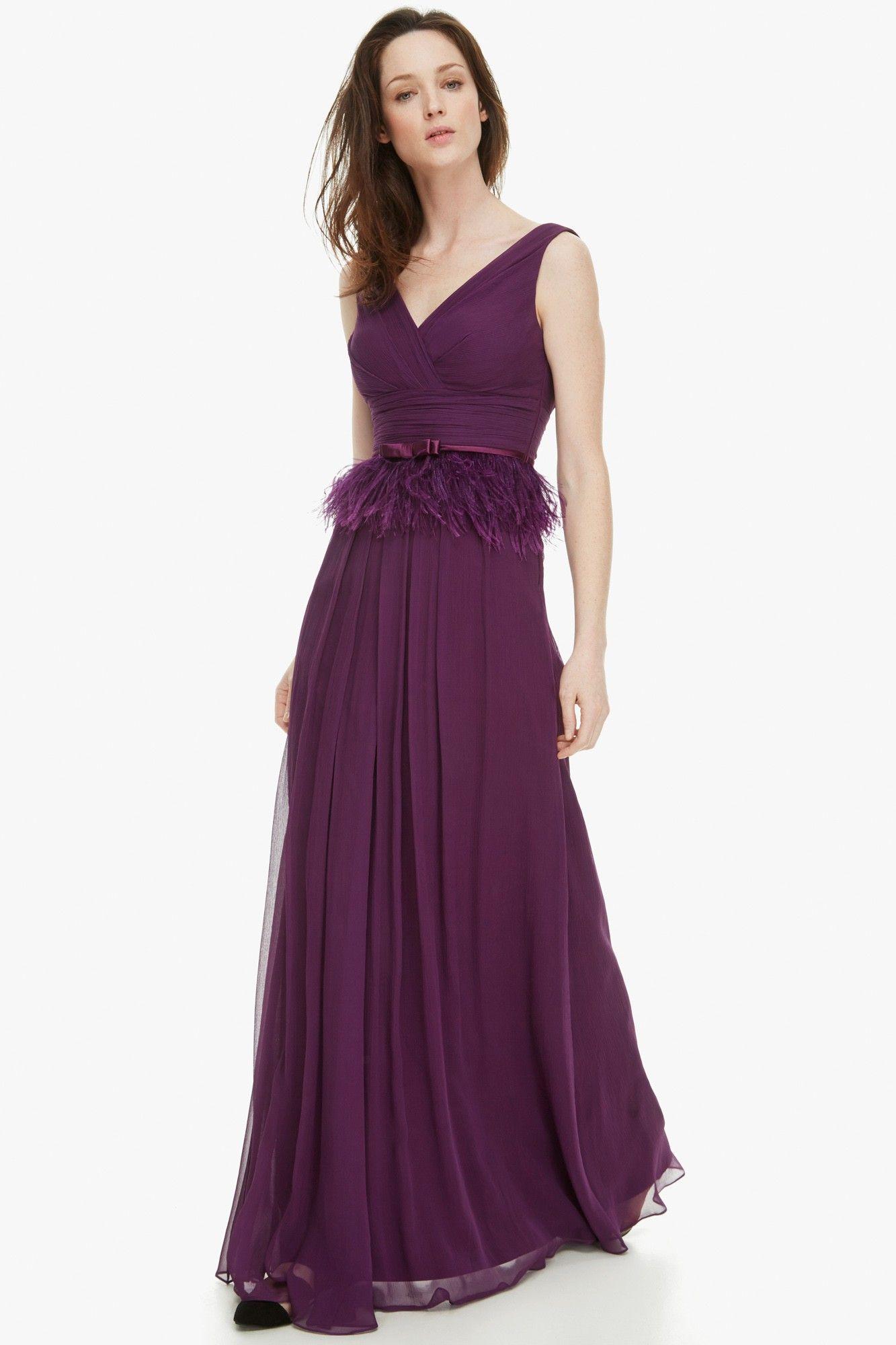 Vestido de seda con escote romántico - Vestidos | Adolfo Dominguez ...