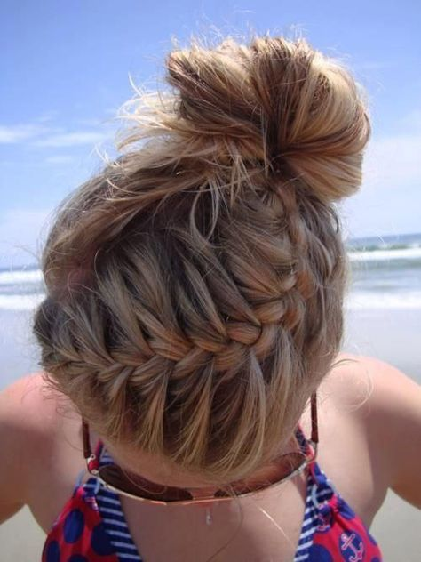 french braid high messy bun| 2014 Easy Hairstyles for Busy School Day | Cute Hairstyles For School is creative inspiration for us. Get more photo about Hair & Beauty related with by looking at photos gallery at the bottom of this page. We are want to say thanks if you … #easyhairstyles