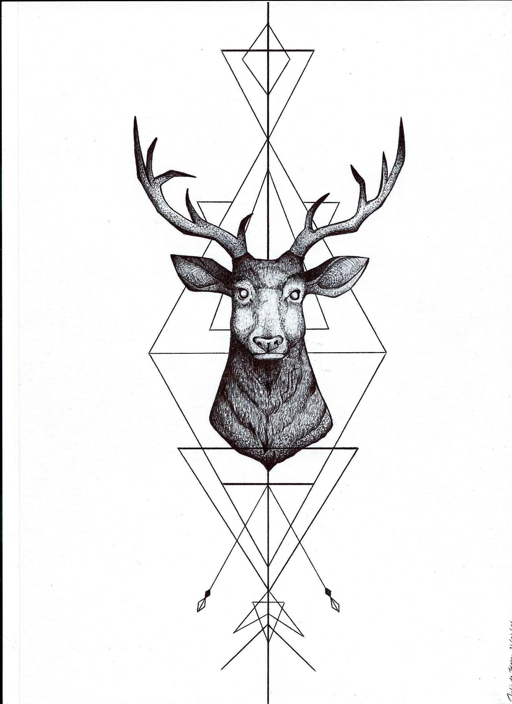 Pointillism deer geometric Julie dH black ballpoint pen