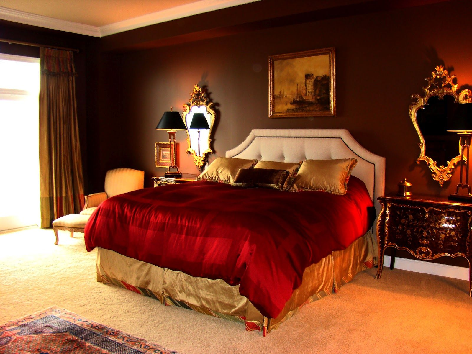 Brown and red bedroom - Chocolate Walls Red Bedding With Gold Accents I Like The Regal Plush Brown Master Bedroombrown