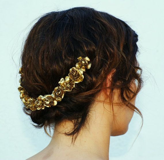 tocado dorado por MorningRosse en Etsy, €22.00