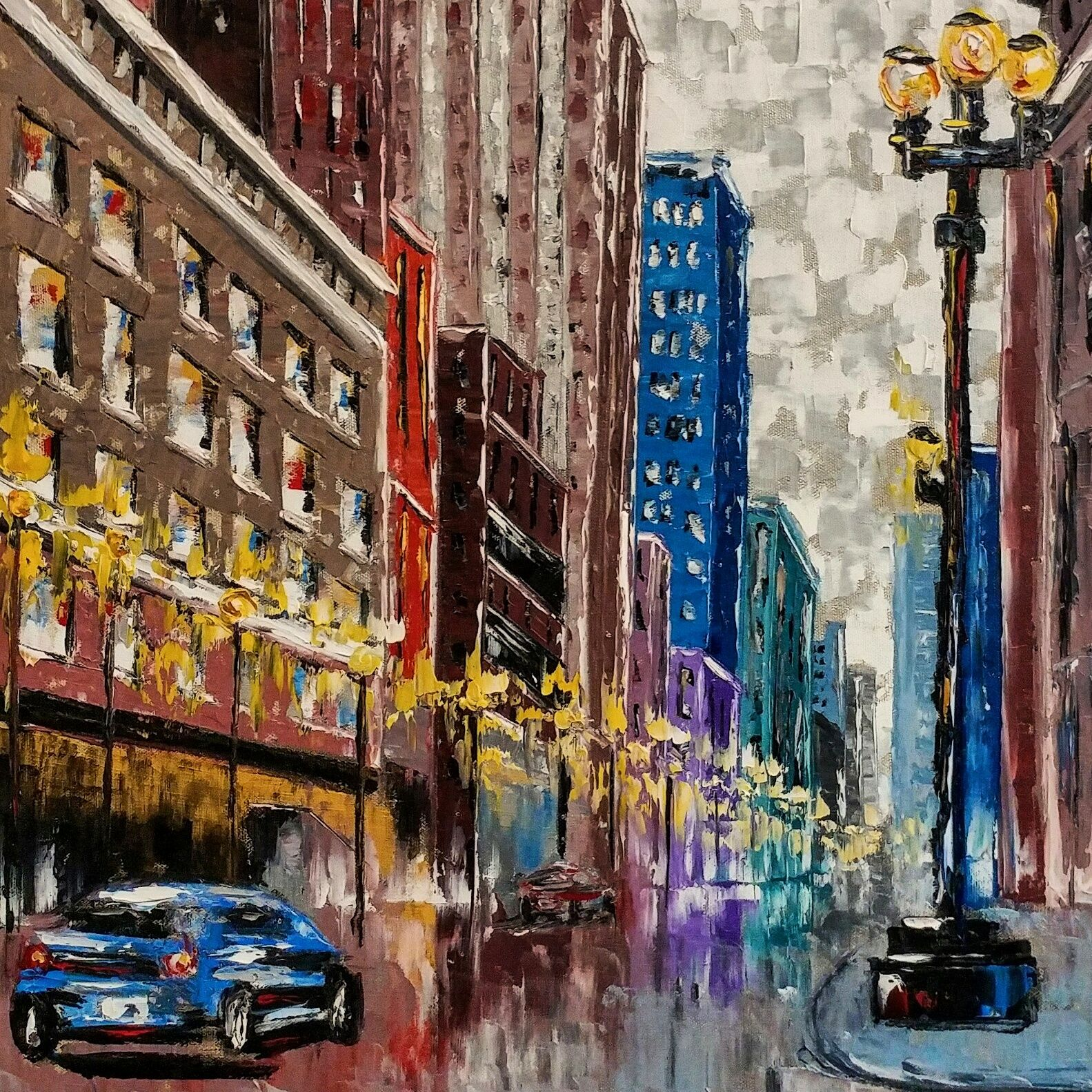 Art Night in the City 24x18 Oil By Emilie Beadle