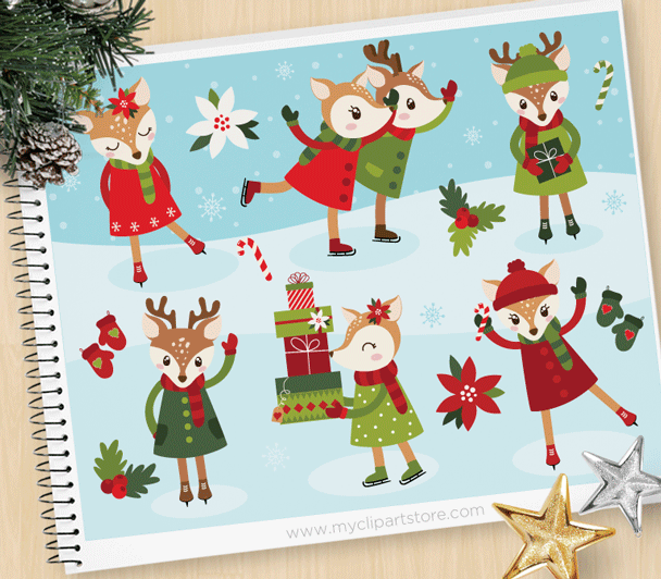 Reindeer Ice Skating Clipart in 2020 Christmas ice