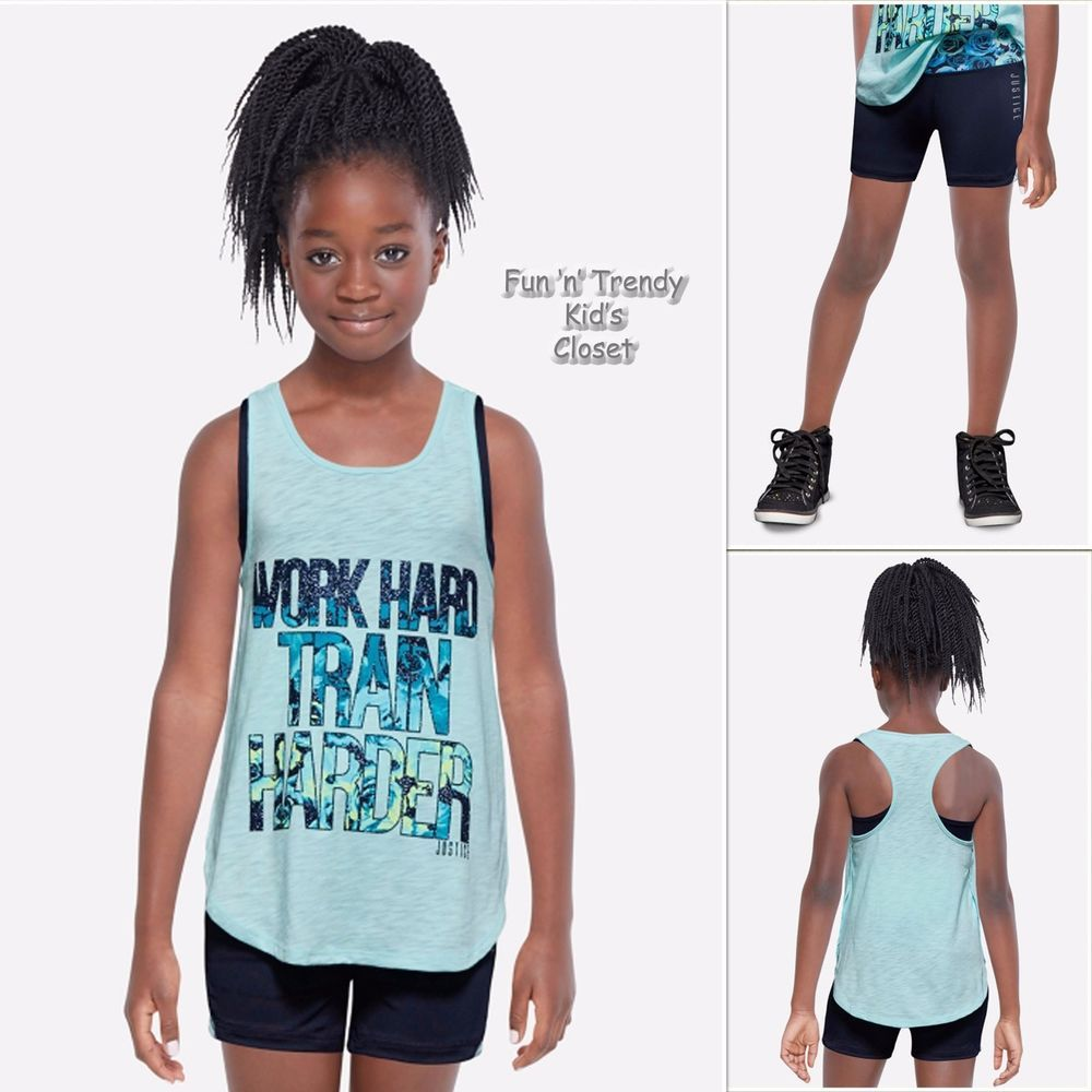 NWT Justice Girls Size 12 14 Activewear Tank Top w/ Sports