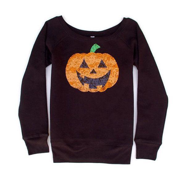 Womens Jack/'O Halloween Pumpkin Off The Shoulder Tops Sweatshirt Lantern Pumpkin