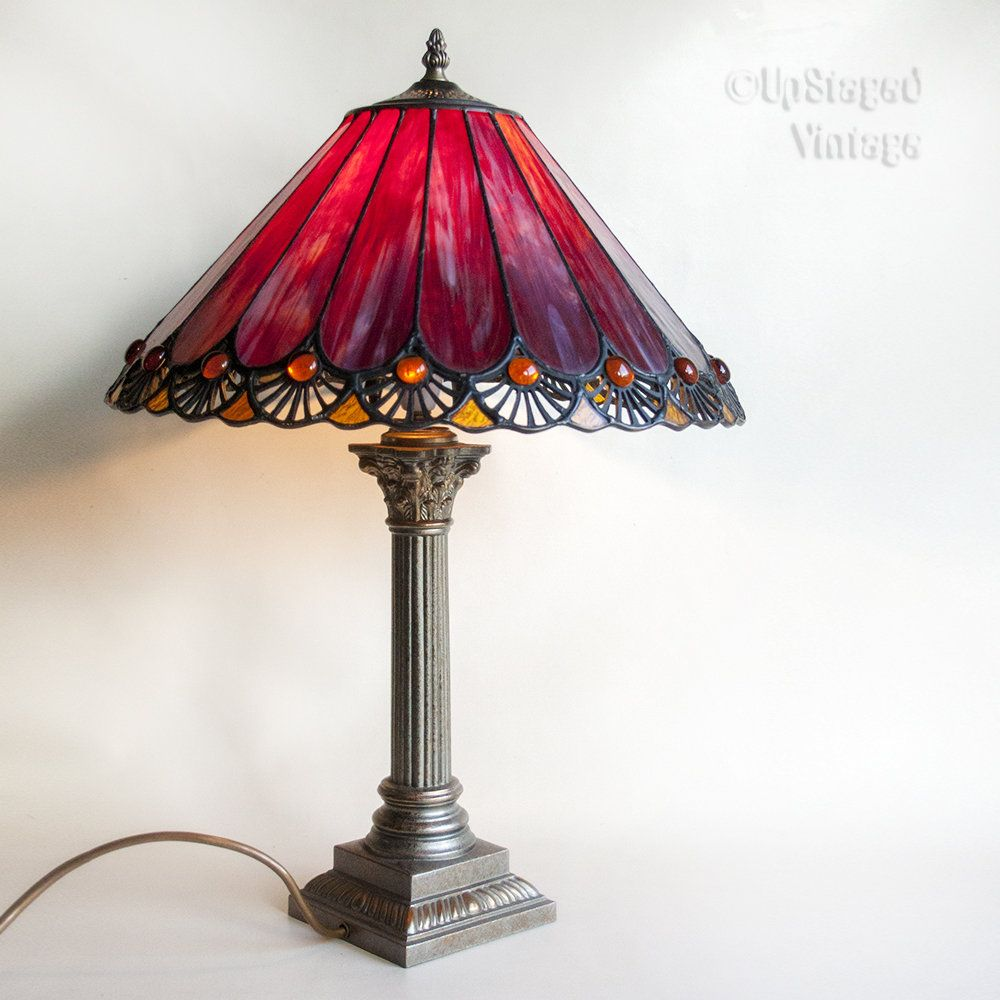 Vintage purple tiffany style stained glass table lamp in full vintage purple tiffany style stained glass table lamp in full working order and pat tested aloadofball Choice Image