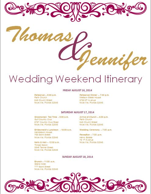 Fig And Gold Wedding Itinerary Template On Bridetodo