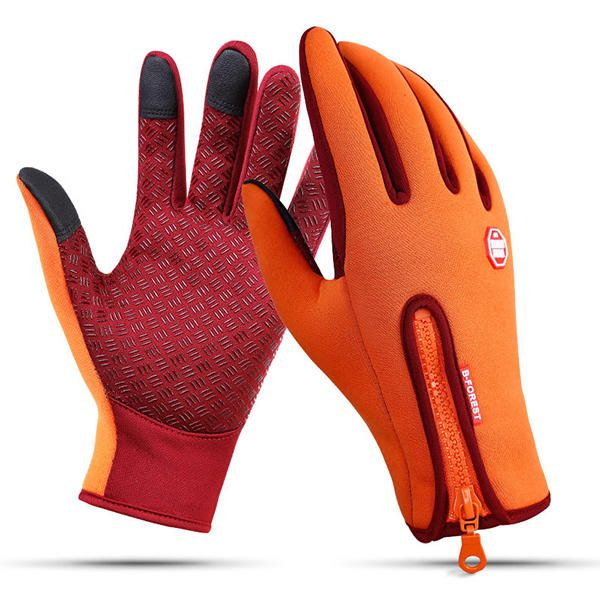 Men/'s Outdoor Winter Ski Warm PU Leather Gloves Touch Screen Driving Cycling