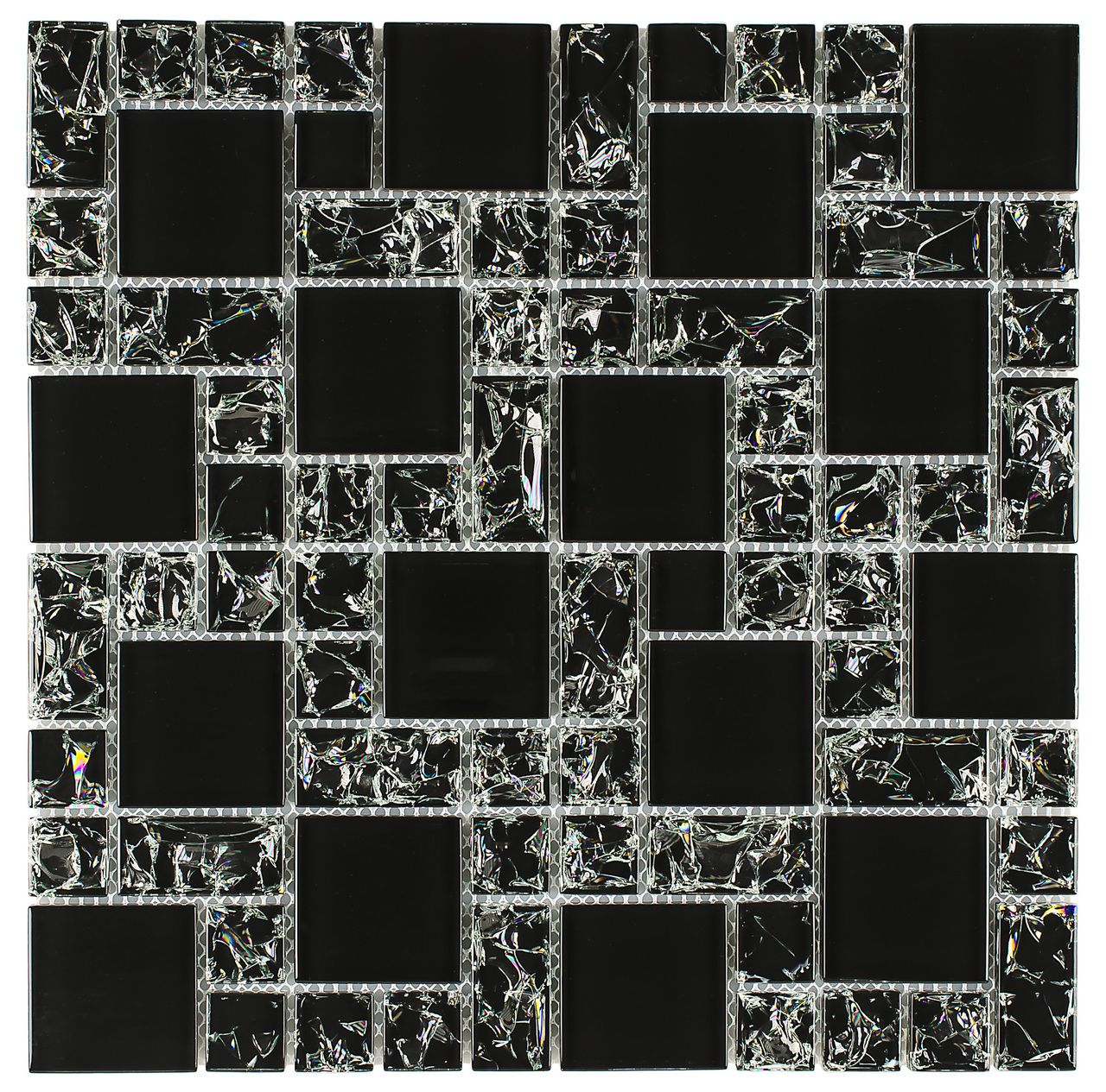 Crackled Glass Mosaic Tile French Pattern Night