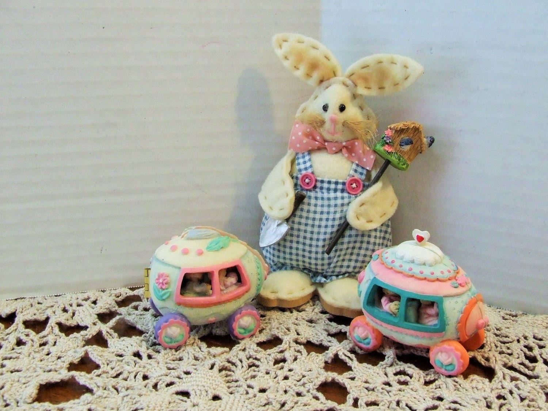 Springtime decor easter bunny decor miniature rabbit decor set springtime decor easter bunny decor miniature rabbit decor set of 3 vintage easter negle Choice Image