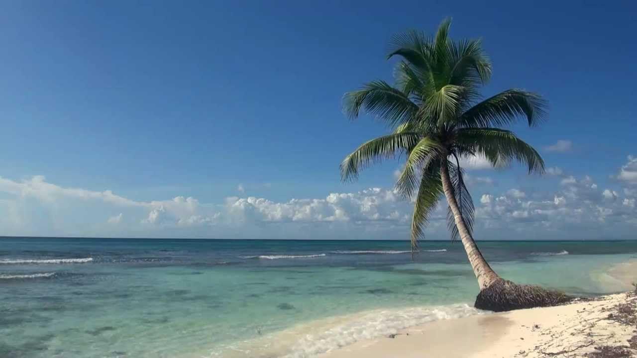 Tropical Island Beach Ambience Sound: 3 Stunden Tropischer Strand Mit Blauem Himmel, Weissem
