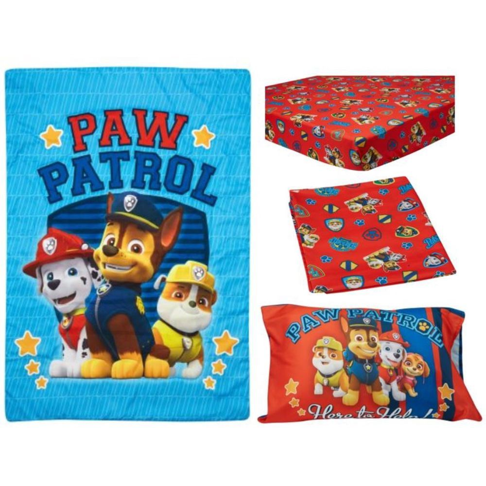 Toddler Bedding Set 4 Piece Paw Patrol Kids Girls Boys Children Pillow Sheets Pawpatrol Paw Patrol Toddler Bedding Nick Jr Paw Patrol Toddler Bed Set
